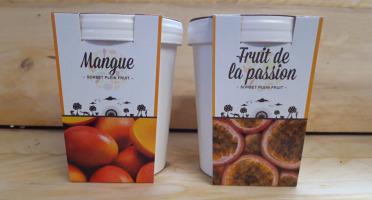 La Ferme du Logis - Assortiment de sorbets Plein Fruit : Mangue et Passion