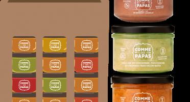 Comme des Papas - Pack 10 Pots Bébé (dès 8 Mois): 3 x tajines, 3 x comcombre fromage, 2 x pates basilic, 2 x pomme cannelle