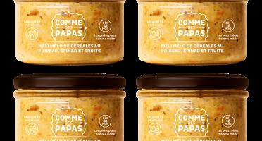 Comme des Papas - Lot De 4 Pots Bébé Dès 18 Mois - Meli Melo De Céréales, Poireau, Épinard Et Truite