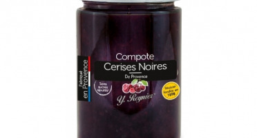 Conserves Guintrand - Compote De Cerises Noires Dénoyautées, Sans Sucres Ajoutés Yr - Bocal 327 Ml