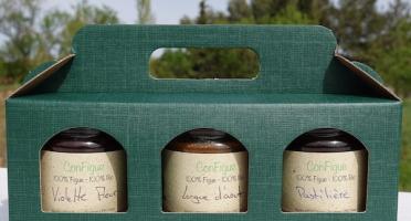 Le Ziboud'Terre - Producteur de figues - Coffret Cadeau ConFigue BIO 200 g - 3 pots