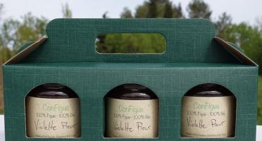 Le Ziboud'Terre - Producteur de figues - Coffret Cadeau ConFigue de Figue Violette fleur BIO 200 g - 3 pots