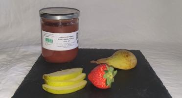 La Ferme du Montet - Compote de Pommes Poires Fraises sans sucre ajouté BIO - 420 g