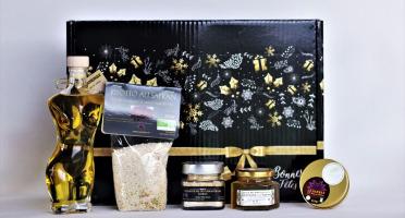 """Le safran - l'or rouge des Ardennes - Coffret Noir """"joyeuses Fêtes"""" L'aphrodisiaque"""