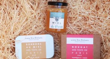 Sous les fraises - Epicerie des Toits de Paris - Lot de 3 douceurs sucrées des toits de Paris - Miel - Bonbons - Nougat