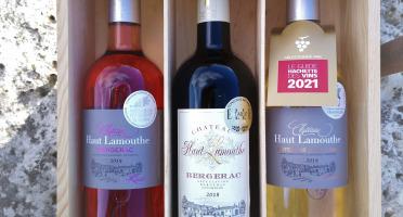 Château Haut-Lamouthe - Coffret Bois de 3 bouteilles : AOC Bergerac Rouge, Blanc et Rosé