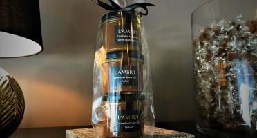 L'AMBR'1 Caramels et Gourmandises - Crèmes De Caramel Au Beurre Salé Nature, Praliné, Vanille De Madagascar Bio - 3 Pots De 130g