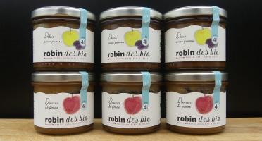 Robin des Bio - Lot De Petit Pot Bébé Bio Et Locaux - 3x Pomme Pruneaux - 3x Pomme (dès 4 Mois)
