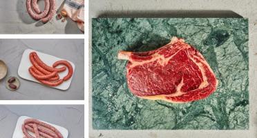 BEAUGRAIN, les viandes bien élevées - Colis Barbecue : saucisse, chipo, merguez, côte de bœuf Aubrac bio