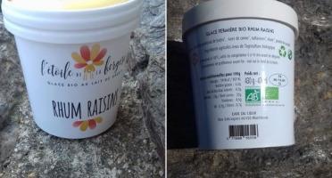 L'Etoile de la Bergère - Glace Bio Au Lait De Brebis Corse Rhum Raisins 165 Ml Avec Petite Cuillère