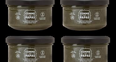 Comme des Papas - Lot De 4 Pots Bébé Dès 6 Mois - Purée Fine D'épinard Et Fromage Frais