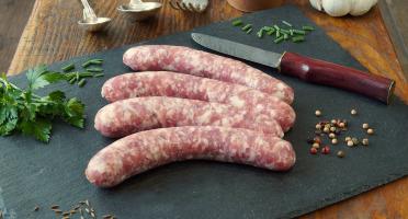La Ferme du Chaudron - Saucisses de Porc BIO au Brie - 500 g