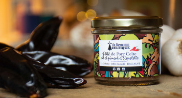 La Ferme Celtique - Pâté Ail et Piment d'Espelette de Porc Celte Élevé en Plein-air  - en Conversion BIO