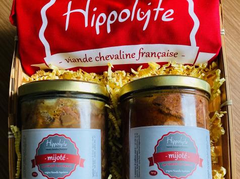 """Hippolyte - Panier garni """"Le Hippo"""" : 2 mijotés façon bourguignon de cheval et un tablier"""