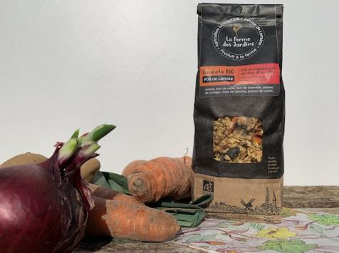 Ferme des Jardins - Granola Bio Salé Poil De Carotte : Noix, Graines, Cumin Et Chips De Carotte
