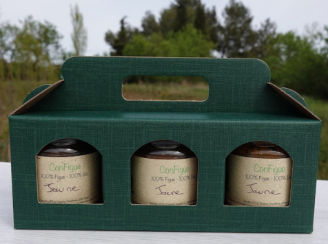 Le Ziboud'Terre - Producteur de figues - Coffret Cadeau ConFigue de Figue Jaune BIO 200 g - 3 pots
