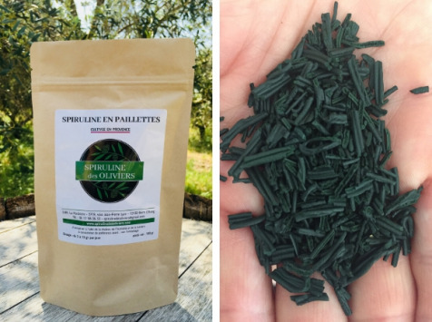 Spiruline des Oliviers - Spiruline En Paillettes Cultivée En Provence - 5 Sachets De 100g
