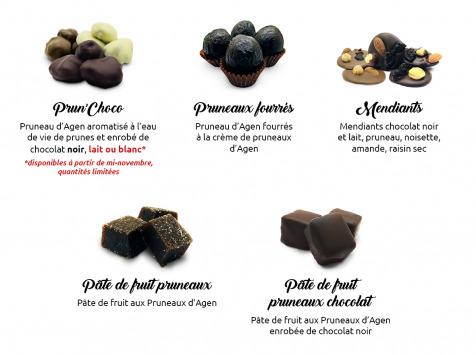 Maison du Pruneau - Assortiment Pâques Fêtes Pruneaux Et Chocolats - Plateau Gourmand Bois 640g