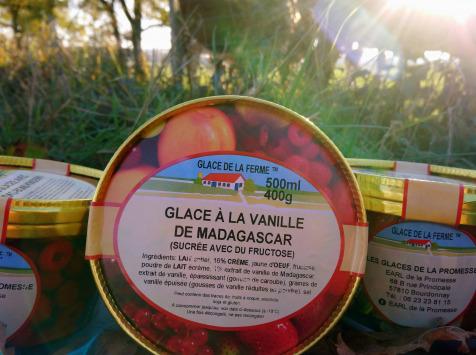 Les Glaces de la Promesse - Glace Vanille sucrée au fructose pouvant convenir pour certains types de diabètique