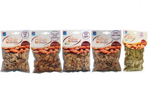 Les amandes et olives du Mont Bouquet - Panier Apéro - assortiment d'amandes grillées (ail, Oignon, Piment, Thym, Salées Fumées)