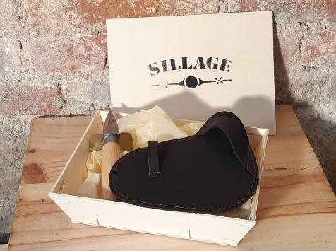 Sillage Maroquinerie - Coffret Gant Huîtrier Noir (gant + Couteau À Huîtres) - Pour Droitier