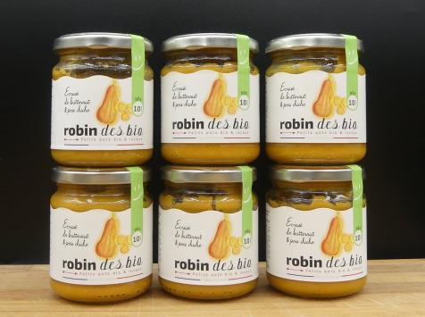 Robin des Bio - Lot De Petit Pot Bébé Bio Et Locaux - 6x Écrasé De Butternut Pois Chiche