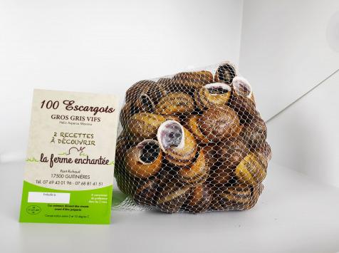 La Ferme Enchantée - Escargot Gros-Gris Vif Jeuné Prêt à Cuisiner - 100 Pièces