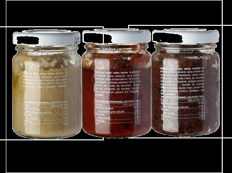 Les Niçois - Triplette Les Veggies : Artichauts, Tomatade, Olivade Noire3x80g