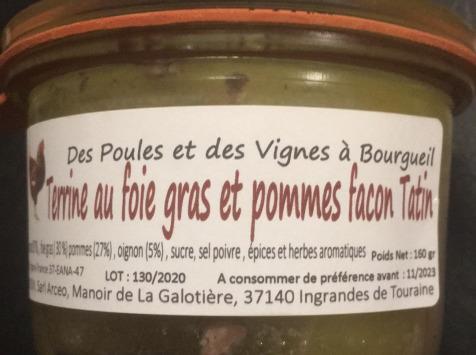 Des Poules et des Vignes à Bourgueil - Terrine de canard au foie gras et pommes façon Tatin