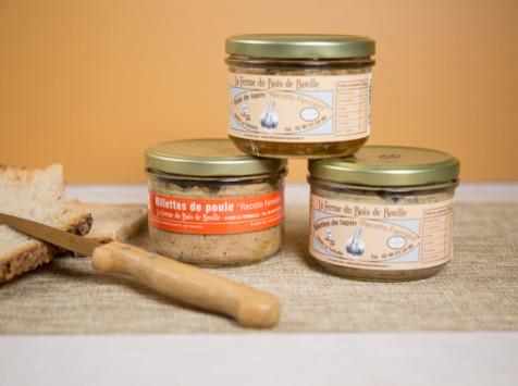 Ferme du Bois de Boulle - 3 terrines : 1 pâté de lapin et 2 rillettes (poule, lapin)