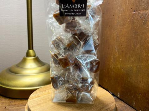 L'AMBR'1 Caramels et Gourmandises - Caramel Aux Fèves De Cacao - Sachet De 130g