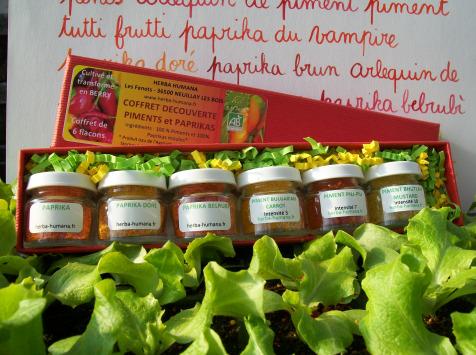 HERBA HUMANA - Coffret Découverte Épices Bio Cultivées en France Paprika et Piment (6 Dosettes)