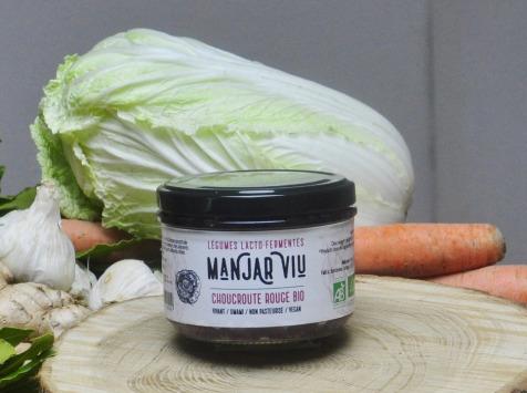 Manjar Viu : Légumes lacto fermentés - Choucroute Rouge et Gingembre - Lacto-fermentées BIO - 220g