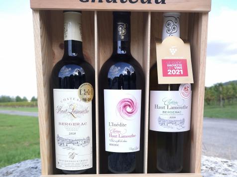 Château Haut-Lamouthe - Coffret Bois de 3 bouteilles : AOC Bergerac Rouge et Blanc