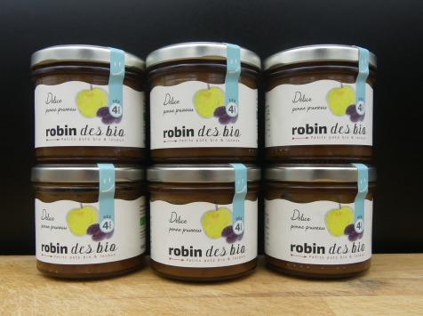 Robin des Bio - Lot De Petit Pot Bébé Bio Et Locaux - 6x Pomme Pruneaux ( Dès 4 Mois)