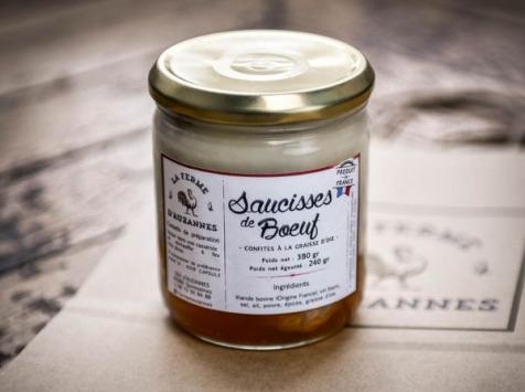 La Ferme d'Auzannes - Saucisses Confites de Boeuf Charolais à la Graisse d'Oie
