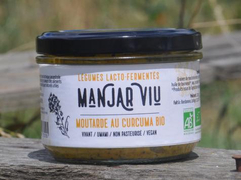Manjar Viu : Légumes lacto fermentés - Moutarde curcuma bio lacto fermentée - 220 g