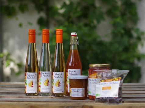 Domaine de l'Ambroisie - Coffret bio : Liqueur, Eau de Vie, Crème, Sirop, Confiture, Mirabelles Séchées et Mirabelles au Sirop