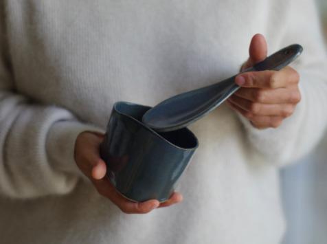 Atelier Eva Dejeanty - [Précommande] Service de Vaisselle en Céramique (Grès) : Cuillère + Bol Taille S Modèle Cellule