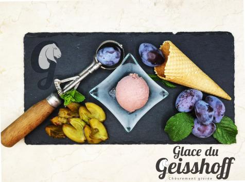Glace du Geisshoff - Quetsche Crème Glacée Fermière au Lait de Chèvre 750 ml