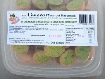 Limero l'Escargot Mayennais - [SURGELÉ] Croquilles D'escargots Gros Gris À La Bourguignonne - 1 boîte de 60