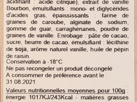 La Fraiseraie - Bâtonnet Vanille Enrobage Chocolat Noir