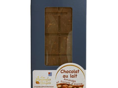 Les amandes et olives du Mont Bouquet - Tablette de Chocolat au Lait, Amandes et Flocons d'Avoine