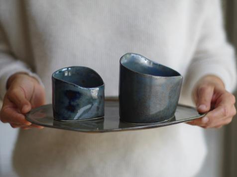Atelier Eva Dejeanty - Service de Vaisselle en Céramique (grès): Assiette Taille M et 2 Bols XS et S modèle Cellule