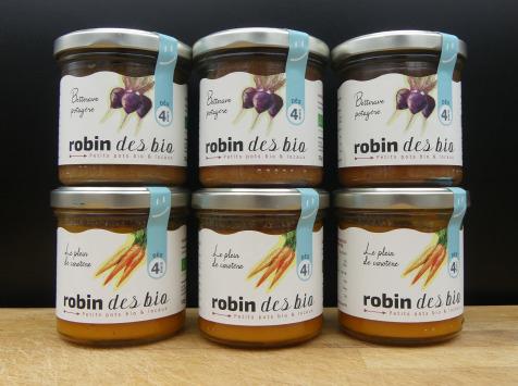 Robin des Bio - Lot De Petit Pot Bébé Bio Et Locaux - 3x Carotte - 3x Betterave