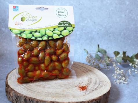 Les amandes et olives du Mont Bouquet - Olives au piment d'Espelette 200g