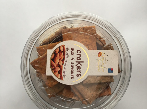 Les amandes et olives du Mont Bouquet - Crackers à la farine d'amandes (4 parfums) 130 g