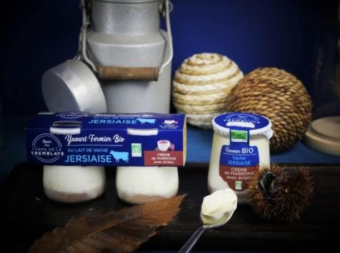 Ferme de La Tremblaye - Yaourt de vache Jersiaise Fermier Bio à la Crème de Marron avec éclats x1
