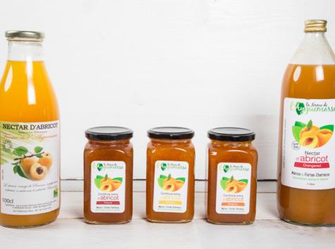 La Ferme de l'Ayguemarse - Panier Petit Déjeuner : confitures et nectars d'abricot