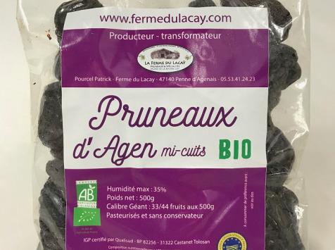 Ferme du Lacay - Pack 8 Sachets De Pruneaux D'agen Mi-cuit Bio